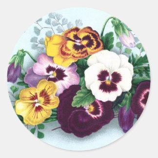 Pensamientos púrpuras y helechos delicados pegatinas