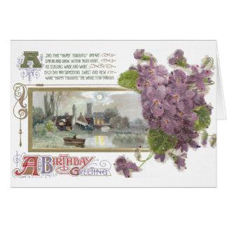Pensamientos y cumpleaños sereno del vintage de la tarjeta de felicitación