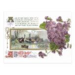 Pensamientos y cumpleaños sereno del vintage de la tarjetas postales