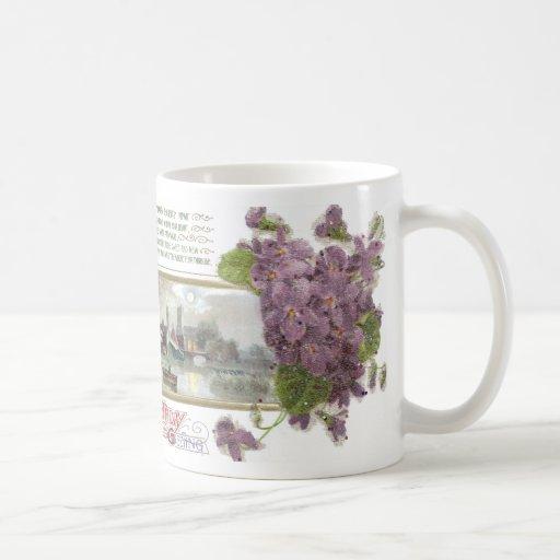 Pensamientos y cumpleaños sereno del vintage de la taza