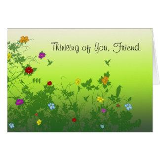 Pensando en usted, amigo tarjeta de felicitación