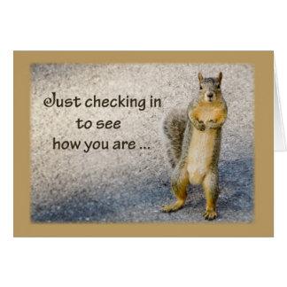 Pensando en usted, ardilla tarjeta de felicitación