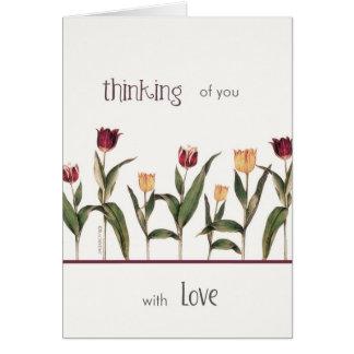 pensando en usted, con amor, estímulo del cáncer, tarjeta de felicitación