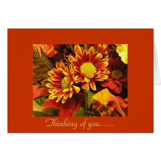 Pensando en usted, diseño del otoño tarjeta de felicitación