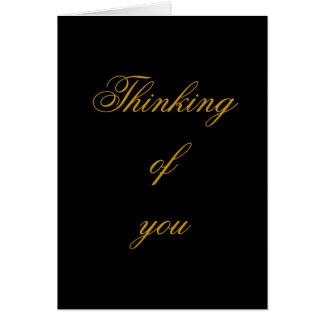 Pensando en usted, negro y tarjeta elegante del or