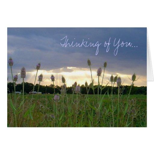 """""""Pensando en usted"""" notecard de la foto Felicitaciones"""