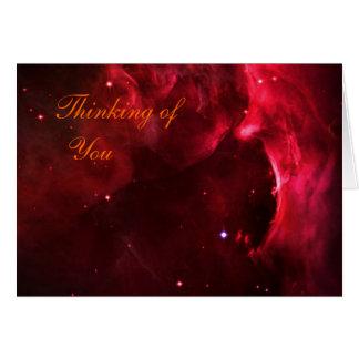 Pensando en usted, región esculpida de nebulosa de tarjeta de felicitación