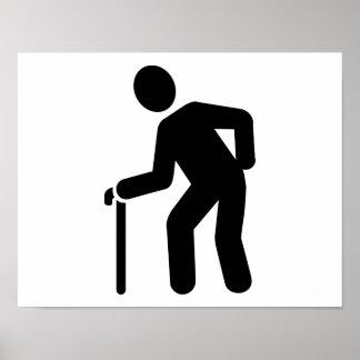 Pensioner walking stick poster