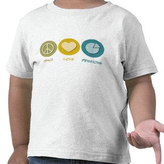 Pensiones del amor de la paz camisetas
