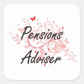 Pensions Adviser Artistic Job Design with Butterfl Square Sticker