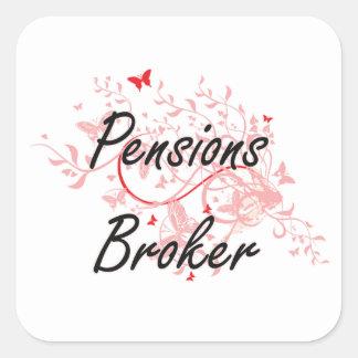 Pensions Broker Artistic Job Design with Butterfli Square Sticker