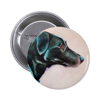 Pensive Black Dog Button