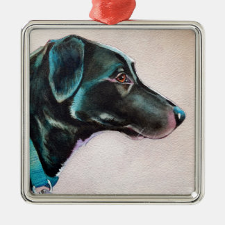 Pensive Black Dog Metal Ornament