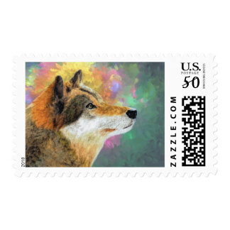 Pensive Brown Wolf Stamp