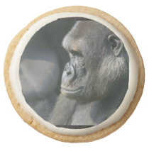 Pensive Gorilla Round Shortbread Cookie