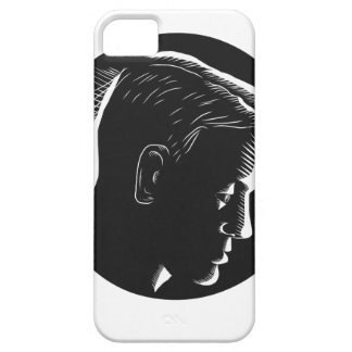 Pensive Man in Deep Thought Circle Woodcut iPhone SE/5/5s Case