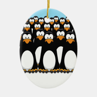 Pensive Penguin Army Double-Sided Oval Ceramic Christmas Ornament