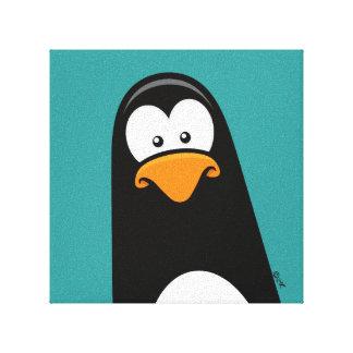 """Pensive Penguin on Blue   12x12"""" Canvas Print"""