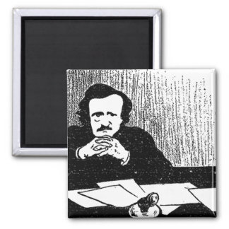 Pensive Poe 2 Inch Square Magnet