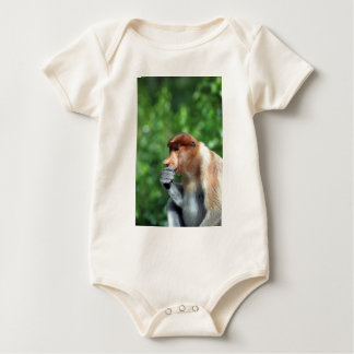Pensive proboscis monkey baby bodysuit