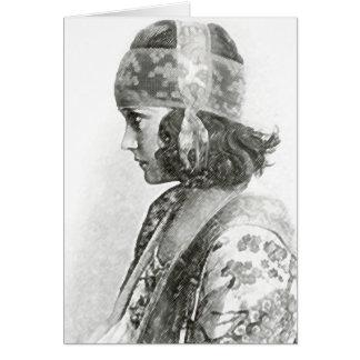 Pensive Woman Photograph Card