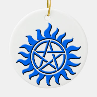 pent agram blue ceramic ornament