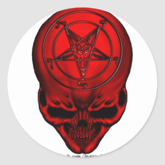penta skull classic round sticker