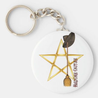 Pentacle Basic Round Button Keychain