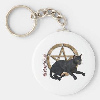 Pentacle Black Cat Basic Round Button Keychain
