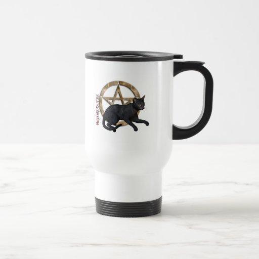 Pentacle Black Cat 15 Oz Stainless Steel Travel Mug