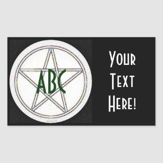 Pentacle Black White and Gray Initials Rectangle Sticker