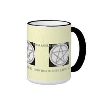 Pentacle Black White & Gray Pale Yellow Background Ringer Coffee Mug