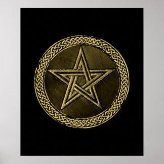 Pentacle Celtic Circle - gold/copilot by version Poster
