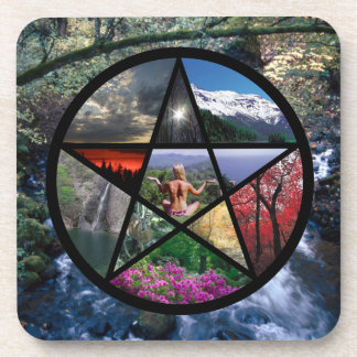 Pentacle collage coaster