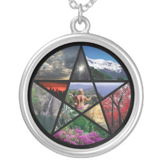 Pentacle collage necklace