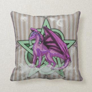 Pentacle Dragon Purple Pillow Cushion
