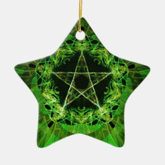 Pentacle green ceramic ornament