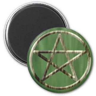 Pentacle  in Wood Fridge Magnet