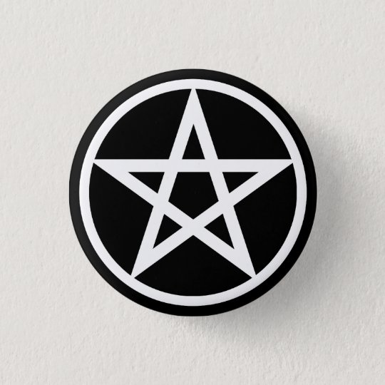 Pentacle Large on Blk Pinback Button