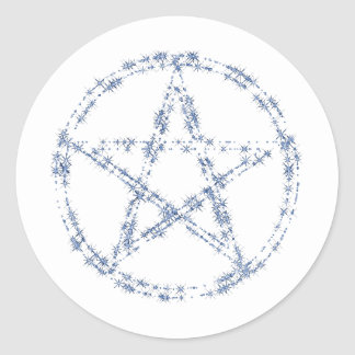 Pentacle of Bright Blue Stars Stickers