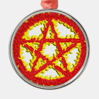 Pentacle of Fire Metal Ornament