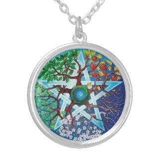 Pentacle of Seasons Round Pendant Necklace