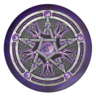 Pentacle Of The Purple Moon Dinner Plate