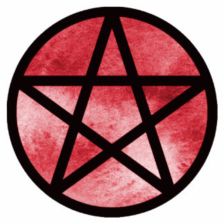 Pentacle on red watercolor background statuette