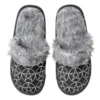 Pentacle Pagan Fuzzy Slippers for Warm Witchy Feet Pair Of Fuzzy Slippers
