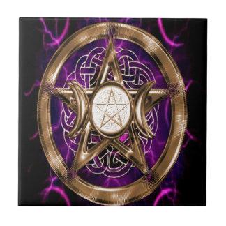 Pentacle Purple and Gold Triple Moon Tile