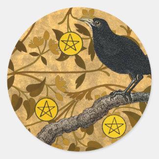 Pentacle Raven Classic Round Sticker