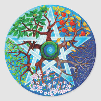 pentacle-seasons classic round sticker