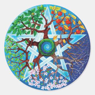 pentacle-seasons classic round sticker