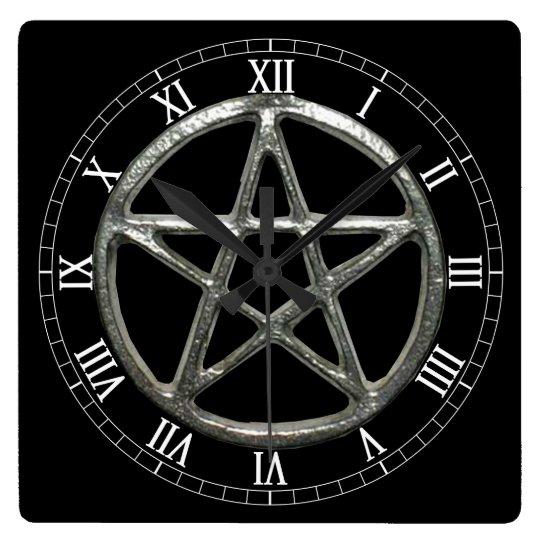 Pentacle Square Roman Numerals Clock